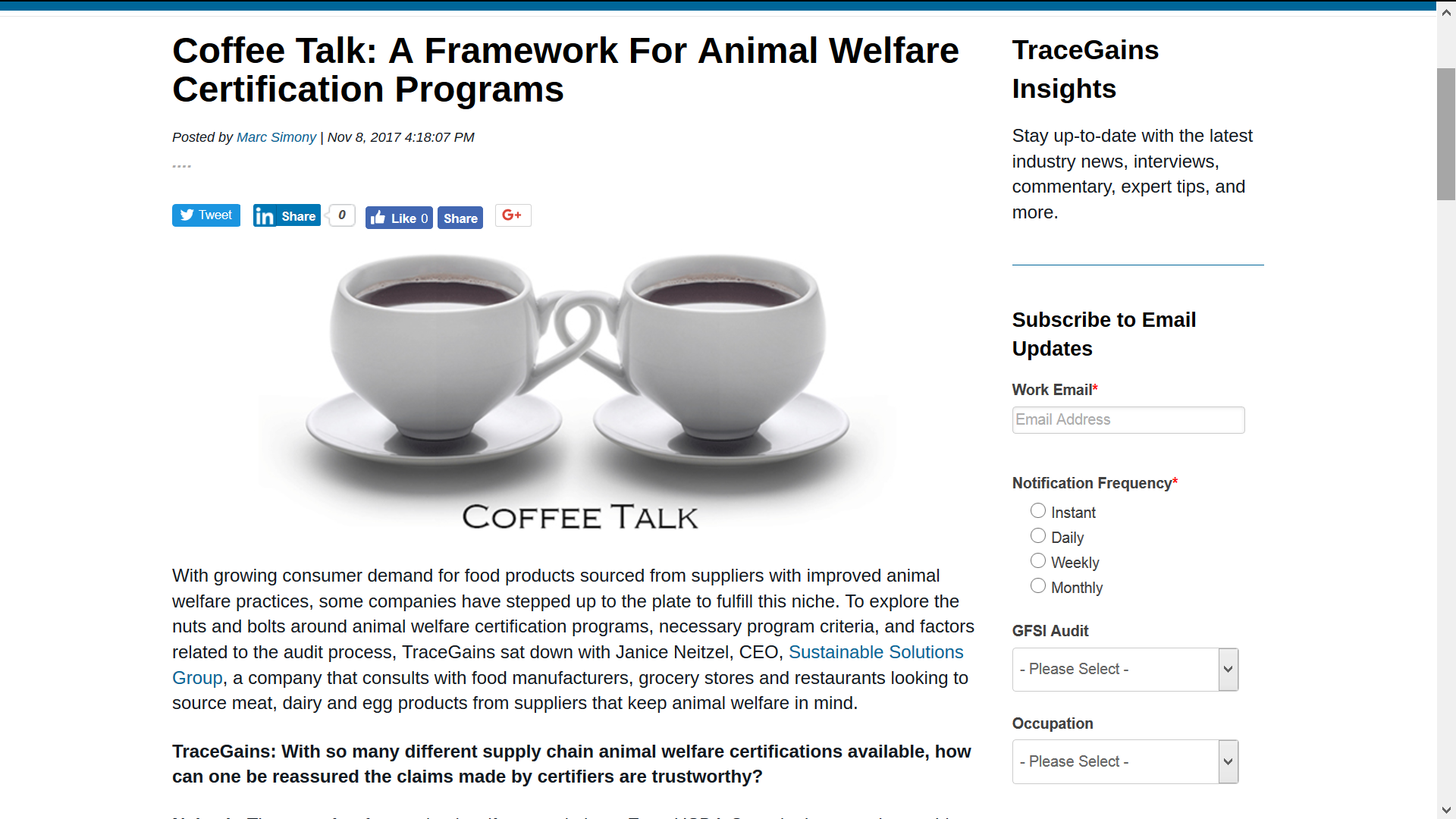 A Framework for Animal Welfare Certification Programs - Sustainable ...